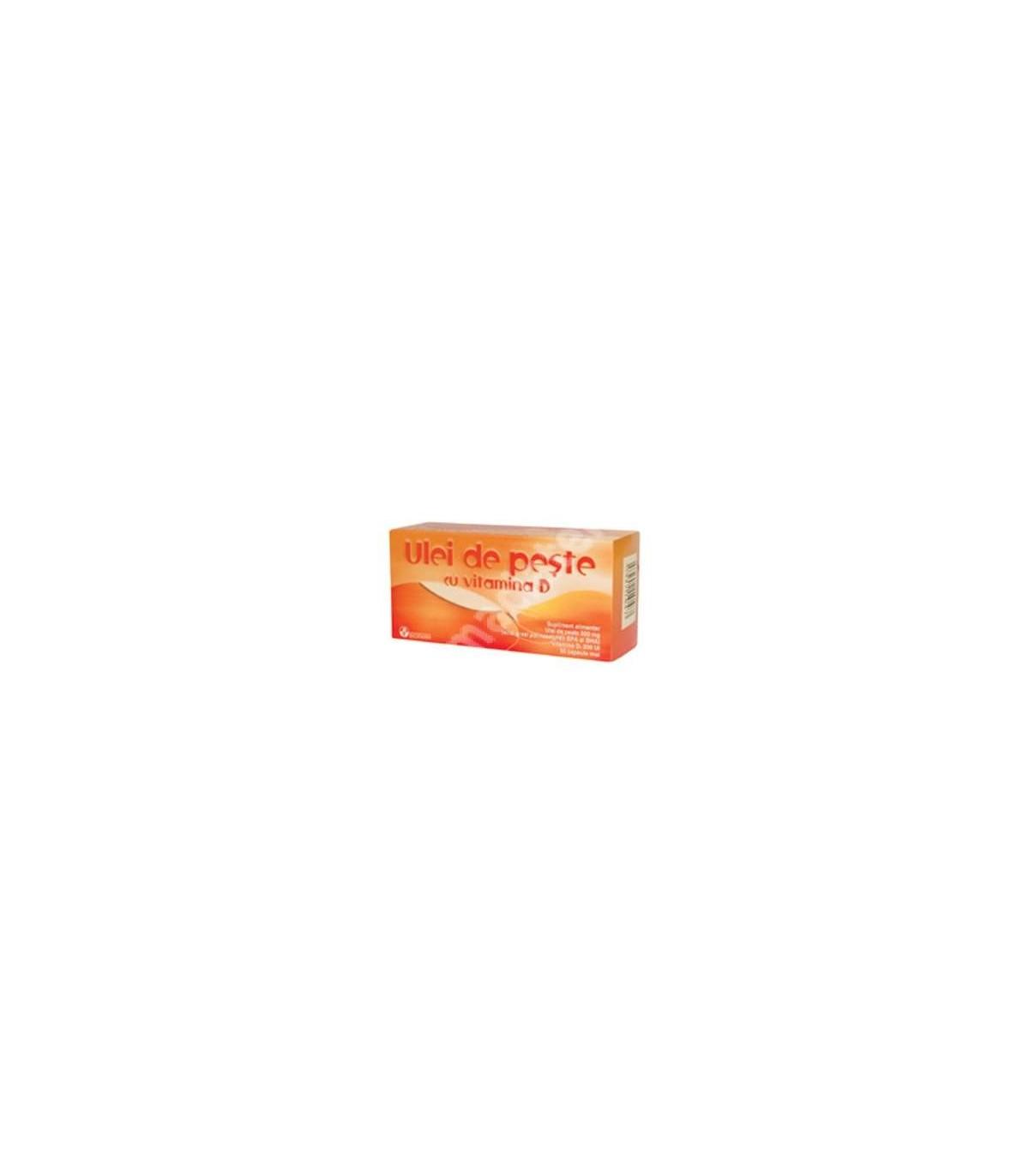 Ulei de peste cu vitamina D Bioland, 30 capsule moi, Biofar : Farmacia Tei online